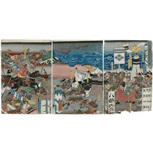 Utagawa Yoshikazu: The Great Battle at Kawanakajima (Kawanakajima ôgassen no zu) - Museum of Fine Arts
