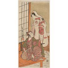 Ippitsusai Buncho: Actors Segawa Kikunojô II as the Snow Woman (Yuki onna), actually Tatsu-hime, and Arashi Sangorô II as the Hat Maker (Eboshi ori) Daitarô, actually Minamoto no Yoritomo - Museum of Fine Arts