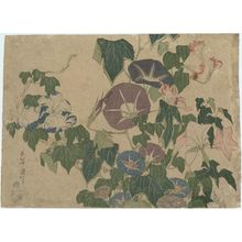 Katsushika Hokusai: Morning Glories and Tree Frog, from an untitled series known as Large Flowers - Museum of Fine Arts