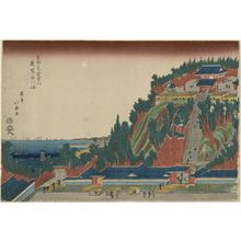 昇亭北壽: Mount Atago in Shiba with a Distant View of the Sea at Shinagawa (Shiba Atagoyama enbô Shinagawa no umi), from the series The Eastern Capital (Tôto) - ボストン美術館