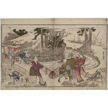 Katsushika Hokusai: Crossing a Bridge, from the album Men's Stamping Dance (Otoko tôka) - Museum of Fine Arts