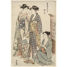 Torii Kiyonaga: Geisha of Tachibana-chô (Kitsugi), from the series Contest of Contemporary Beauties of the Pleasure Quarters (Tôsei yûri bijin awase) - Museum of Fine Arts