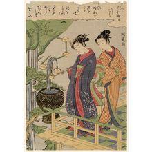 Isoda Koryusai: Sekidera, from the series Seven Komachi in Modern Guise (Yatsushi Nana Komachi) - Museum of Fine Arts