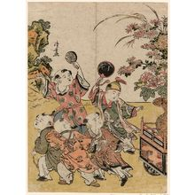 鳥居清長: Chinese Boys Pulling a Flower Float, from an untitled series of Chinese Children (Karako) - ボストン美術館