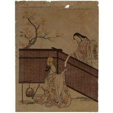 鈴木春信: Woman Dressed as Palace Servant Burning Maple Leaves - ボストン美術館