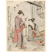 鳥居清長: Two Women Admiring Plum Blossoms, from the series Twelve Scenes of Popular Customs (Fûzoku jûni tsui) - ボストン美術館