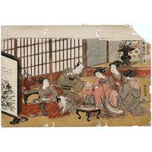 磯田湖龍齋: A Party in the Yoshiwara, Sheet 1 of the series Twelve Bouts of Lovemaking (Shikidô tokkumi jûni-tsugai) - ボストン美術館