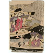 Hosoda Eishi: Pleasure Boats on the Sumida River under Shin-Ôhashi Bridge - Museum of Fine Arts