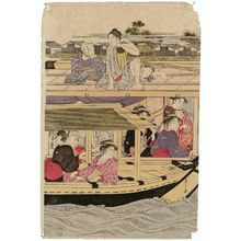 Hosoda Eishi: Pleasure Boats on the Sumida River under Shin-Ôhashi Bridge - Museum of Fine Arts