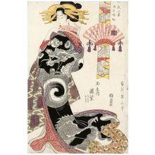 Kikugawa Eizan: Returning Sails of Akashi (Akashi kihan): Koimurasaki of the Tamaya, kamuro Chidori and Momiji, from the series Eight Views of Genji (Genji hakkei) - Museum of Fine Arts