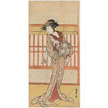 勝川春章: Actor Osagawa Tsuneyo II as the courtesan Miyagino (?) - ボストン美術館