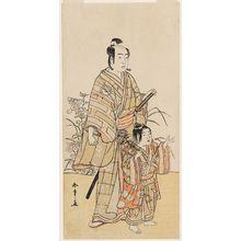 Katsukawa Shunsho: Actor Sawamura Sôjûrô and a Young Actor as the Spirit of the Chrythanthemum ? as Yasana - Museum of Fine Arts