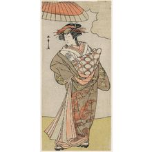 Katsukawa Shunsho: Actor Nakamura Rikô as Tokiwa Gozen Disguised as a Courtesan - Museum of Fine Arts
