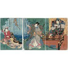 歌川国芳: Actors Nakamura Uzaemon as Hisayoshi (R), Nakamura Utaemon as Matsunaga Daisen (C), and Iwai Shijaku as Kano Yuki-hime (L) - ボストン美術館
