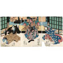 歌川国芳: Actors Iwai Shijaku (R), Seki Sanjûrô (C), Nakamura Utaemon (L) - ボストン美術館