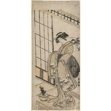 Katsukawa Shunko: Young Woman Admiring a Potted Adonis Plant - Museum of Fine Arts
