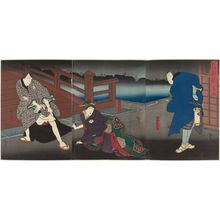 Utagawa Hirosada: Actors Mimasu Daigorô IV as Konishi Yajûrô (R), Nakayama Nanshi II as the daughter Otsuyu (C), and Nakamura Utaemon IV as Fukami Katsugorô (L), in Act II of the play Kiyome no Funauta - Museum of Fine Arts