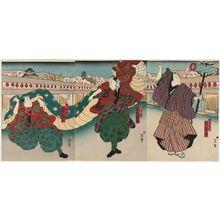 Hasegawa Munehiro: Actors Arashi Rikaku II (R) as a Juggler (Kyoku temari), and Nakamura Kanjaku II (C) and Nakamura Tamashichi I (L) as Lion Dancers (Daikagura) - ボストン美術館