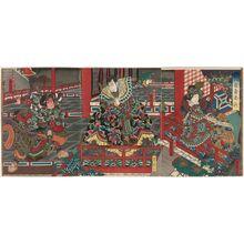Utagawa Yoshitaki: Actors Bandô Hikosaburô V as Kinshôjo (R), Arashi Kichisaburô III as Kanki (C), and Jitsukawa Enzaburô I as Watônai (L), in Kokusenya Kassen - Museum of Fine Arts
