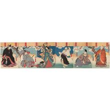 Utagawa Hirosada: The Fashionable Six Poetic Immortals (Fûryû Rokkasen), from right: Actor Nakamura Utaemon IV as Bishop Henjô, Bun'ya no Yasuhide, and Priest Kisen; Nakayama Nanshi II as Ono no Komachi; and Nakamura Utaemon IV as Ariwara Narihira and Ôtomo Kuronushi - Museum of Fine Arts