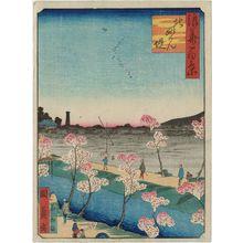 Utagawa Kunikazu: Myôken Temple Embankment in the North (Kita Myôken tsutsumi), from the series One Hundred Views of Osaka (Naniwa hyakkei) - Museum of Fine Arts