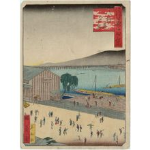 Utagawa Kunikazu: Evening View of Hachiken'ya (Hachiken'ya yûkei), from the series One Hundred Views of Osaka (Naniwa hyakkei) - Museum of Fine Arts