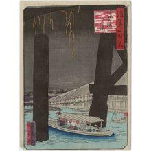 Utagawa Kunikazu: Enjoying the Cool of the Evening at Naniwa-bashi Bridge (Naniwa-bashi yû suzumi), from the series One Hundred Views of Osaka (Naniwa hyakkei) - Museum of Fine Arts