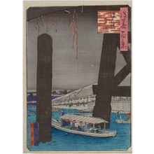 歌川国員: Enjoying the Cool of the Evening at Naniwa-bashi Bridge (Naniwa-bashi yû suzumi), from the series One Hundred Views of Osaka (Naniwa hyakkei) - ボストン美術館