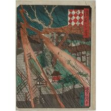 Utagawa Yoshitaki: Sankô-no-miya Shrine at Sanada Hill (Sanada-yama Sankô-no-miya), from the series One Hundred Views of Osaka (Naniwa hyakkei) - Museum of Fine Arts