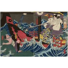 Utagawa Hirosada: Actors Nakamura Utaemon IV as Katô Masakiyo (R) and Nakamura Tomosa II as the boatman Yojibei (L), in Act 3 of Kiyome no Funauta - Museum of Fine Arts