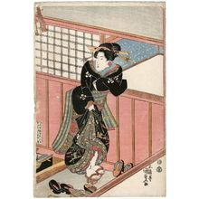 Utagawa Kunisada: Woman entering a building - Museum of Fine Arts