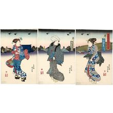 Utagawa Kunisada: Assembling in the Morning for the Special Display of Images at Ryôgoku (Ryôgoku kaichô asa atsumari no zu) - Museum of Fine Arts