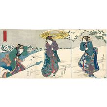 Utagawa Kunisada: Snow at Mimeguri (Mimeguri no yuki), from the series Four Seasons (Shiki no uchi) - Museum of Fine Arts