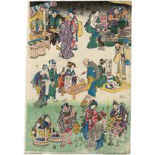 歌川広重: Characters from Plays as Merchants and Customers, from the series Flourishing Business in Balladtown (Jôruri-machi hanka no zu) - ボストン美術館