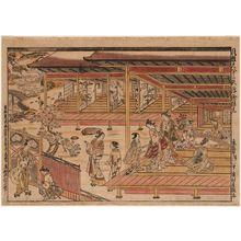奥村政信: Elegant Shakuhachi Version of Ushiwakamaru Serenading Jôruri-hime, an Original Perspective Print (Fûga shakuhachi jûnidan uki-e kongen) - ボストン美術館