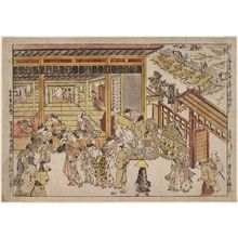 奥村政信: Original Perspective Picture of the Great Gate and Naka-no-chô in the Shin Yoshiwara (Shin Yoshiwara Ômonguchi Naka-no-chô uki-e kongen) - ボストン美術館