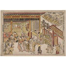 Okumura Masanobu: Original Perspective Picture of the Great Gate and Naka-no-chô in the Shin Yoshiwara (Shin Yoshiwara Ômonguchi Naka-no-chô uki-e kongen) - Museum of Fine Arts
