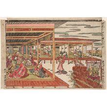 Tanaka Masunobu: Parody of Minamoto Ushiwakamaru Serenading Princess Jôruri (Genji jûnidan no zu) - Museum of Fine Arts
