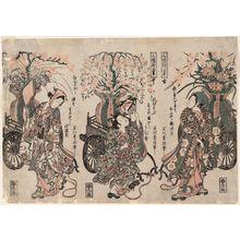 Ishikawa Toyonobu: A Triptych of Flower Carts (Sanpukutsui hanaguruma) - Museum of Fine Arts