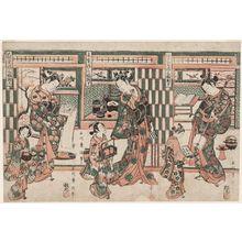 石川豊信: A Triptych of Courtesans (Keisei sanpukutsui): Edo (R), Kyoto (C), Osaka (L) - ボストン美術館