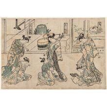 万月堂: A Triptych of Kamuro (Kamuro sanpukutsui) - ボストン美術館