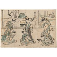 Mangetsudo: A Triptych of Kamuro (Kamuro sanpukutsui) - Museum of Fine Arts