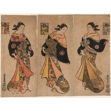 西村重長: Courtesans of the Miuraya, a Triptych: Komurasaki (R), Takao (C), and Miyoshi (L) - ボストン美術館