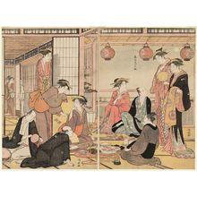 鳥居清長: The Eighth Month, from the series Twelve Months in the South (Minami jûni kô) - ボストン美術館
