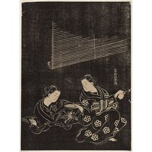奥村政信: Two Women Drinking Sake, in Ink-rubbing Style - ボストン美術館