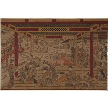 奥村政信: Cooling off at Ryôgoku Bridge, a Large Perspective Picture (Ryôgoku-bashi yûsuzumi ô-uki-e) - ボストン美術館