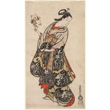 奥村政信: Woman Holding a Toy of Otani Hiroji as a Fish Vendor - ボストン美術館