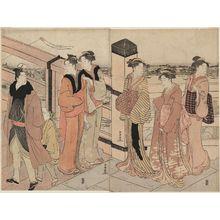 Katsukawa Shuncho: New Year Street Scene at the End of Ryôgoku Bridge - Museum of Fine Arts