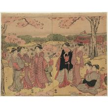 Katsukawa Shuncho: Cherry-blossom Viewing at Ueno - Museum of Fine Arts