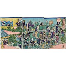 Utagawa Yoshimori: A Crowd Making the Pilgrimage to the Shrine on Mount Atago (Atago môde gunshû no zu) - ボストン美術館
